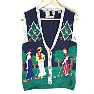 Vintage Marisa Christina Croquet Sweater Vest SM